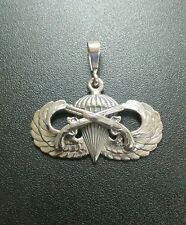Sterling Silver U.S. Army Airborne Military Police Basic Jump Wing pendant .925