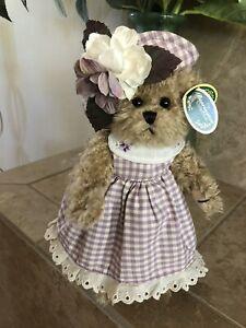 "Bearington Bears JADE #1555  Plush 10"" 🐻w/Lavender Checkered Dress & Hat NWT"