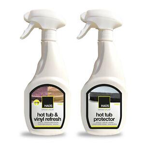 Hot Tub Lid Cleaner remove algae grease + Hot Tub Cover Protector stops algae