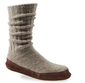 NWOB Acorn Original Slipper Sock Men's size 10.5 - 11.5 Gray Wool Slippers