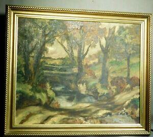 Vintage Regionalist Oil Painting Landscape TUCKER Gilt Picture Frame Antique 30s