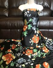 "3 Meter Black Floral Print Crepe Satin Fabric 60"" Wide dress making"