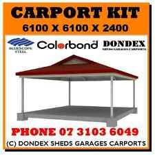 DONDEX Double Dutch Gable Carport Kit 6.1x6.1x2.4 Colorbond Roof Gutters Barge
