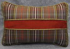 Pillow made w Ralph Lauren Rock River Green & Brown Plaid Fabric 15x11 trim cord
