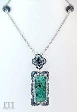 La Costa Organic Green Chrysocolla Necklace Druzy Sterling Silver Pendant - LC02
