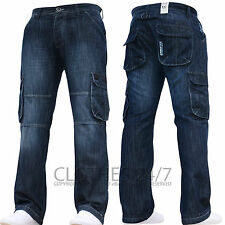 New Mens AD Designer Dark Cargo Combat Denim Jeans Pants All Waist & Leg Sizes