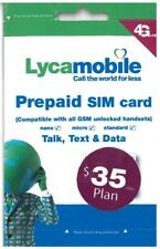 Prepaid LYCAMOBILE Triple punch 3in1 SIM Card $35 / month plan GSM phone