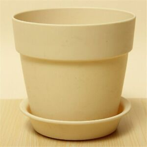 1 Pc Resin Plastic Flowerpot With Tray Garden Plants Flower Pot