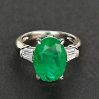 925 Sterling Silver Natural Octagon Cut 10ct Colombian Emerald Gemstone AD Ring