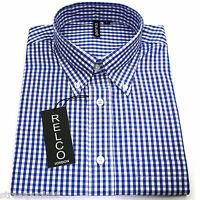 Relco Mens Blue White Gingham Short Sleeved Shirt Button Down Mod Skin Retro New