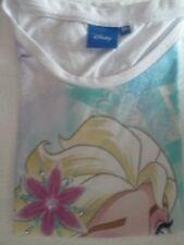 T-shirt blanc et bleu manches courtes imprimé Disney La Reine des Neiges 8 ans