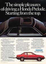 1982 Honda Prelude - Sunroof - Original Advertisement Print Art Car Ad J789