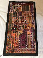 "34x18""Red/Black Indian Embroidered/Mirrors Vintage Tapestry WallHanging ArtDecor"