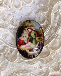 Christmas Nativity 30X40mm Glitter Unset Handmade Glass Art Bubble Cameo Cab