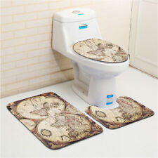 3 Pieces Bath Room Flannel Rugs World Map Pedestal Mat Toilet Lid Cover Mats
