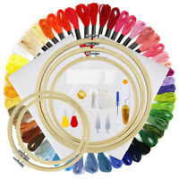50 Assorted Colors Cross Stitch Tool Kit Embroidery Needle Threads Hoops DIY