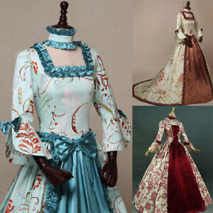 Womens Vintage Clothing Medieval Costume Victorian Dress Print Palace Ball Gown