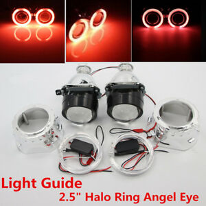 "2.5""Halo Ring Angel Eye H1/H4/H7 Car Projector Headlight Conversion Red Bi-Xenon"