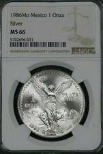 1986-Mo Mexico Silver Libertad 1 Onza NGC MS-66
