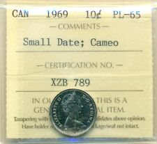 1969 Canada 10 Cent Small Date, Cameo ICCS PL-65, Affordable for New Hobbyist