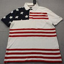 Tommy Hilfiger Mens Red White & Blue Star Stripes Custom SS Polo Shirt NWT M $70