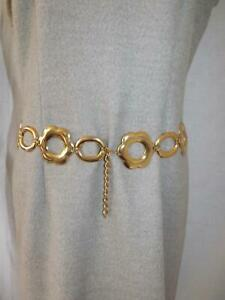 """Vintage 1980s Gilt Metal Belt DAISIES Made in Spain Size M-L 33ins""""-37ins"""""""