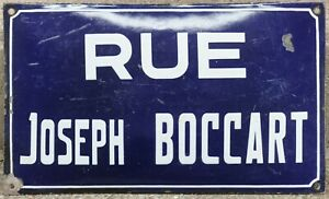 Big old French enamel steel street sign road plaque name Joseph Boccart Belgium