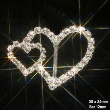 10 X DOUBLE HEART RHINESTONE RIBBON SLIDER BUCKLES DIAMANTE SPARKLY WEDDING