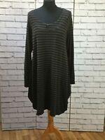 Masai Black Grey Stripe Large Tunic Dress