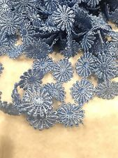 25mm Blue Sewing Craft Venise Flower Ribbon Lace Trims Dress Per Meter