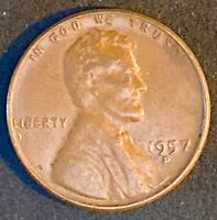 """1957 D 1 Cent """"Lincoln - Wheat Ears Reverse"""" Misplaced Date DDO Errors   (568)"""