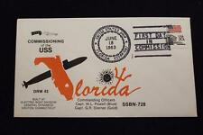 DRW NAVAL COVER #43B COMMISSIONING USS FLORIDA (SSBN-728) 1983 FANCY CANCEL