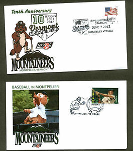 10tH ANNIVERSARY VERMONT MOUNTAINEERS BASEBALL TEAM MOUNTPELIER, VT 2 COVER SET