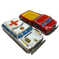 AMBULANCE & FLATBED TRUCK (2) Tin Litho Friction Toys Vintage Japan 1960's