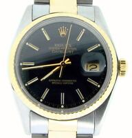 Rolex Datejust Mens 2Tone 18K Gold & Stainless Steel Oyster w/ Black Dial 16013