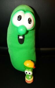"Vintage Fisher Price VeggieTales Larry the Cucumber 9"" Plush Green Stuffed Toy"