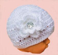 HANDMADE REBORN DOLL CROCHETED HAT GIRL berenguer american tiny knit white baby