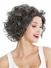 Wig Ladies Human Hair Lace-Front Black Grey Mix Curls Short Shoulder Length