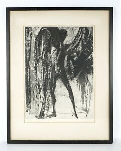 Mid Century Mod 1963 Dream of Icarus by Elizabeth Delson Signed Framed Aquatint