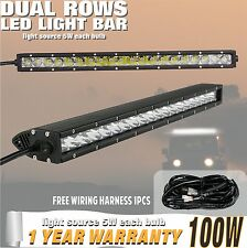 22inch 100W Cree LED Light Bar Single Row Flood Spot 4WD 12V with Wiring Harness