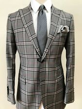 Plaid super 150 Cerruti wool suit with double stitched peak lapel-made in Italy