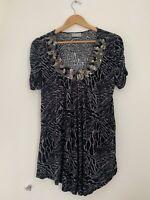 Ladies T Shirt Wallis L/16 Grey Short Sleeve Casual Cotton <JS2429