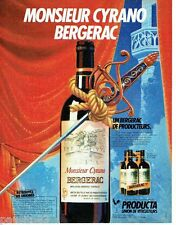 PUBLICITE ADVERTISING 106  1983  Producta  le vin Monsieur Cyrano  Bergerac