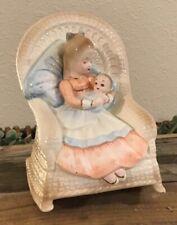 Vintage Josef Originals Music Box Girl in Rocker with Baby Figurine, Rocking Nr