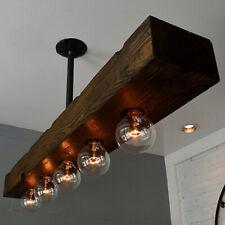 Farmhouse 5-Light Wood Beam Linear Island Pendant Light Kitchen Ceiling Fixtures