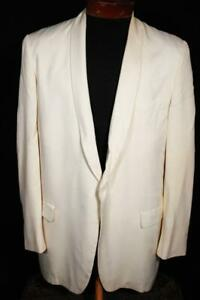 VINTAGE 1950'S AFTER SIX CREAM GABARDINE SHAWL COLLAR TUXED SIZE 41 REG