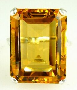 Stunning Rare Top Color Very Large Emerald Cut Citrine Ring 10k Yellow Gold
