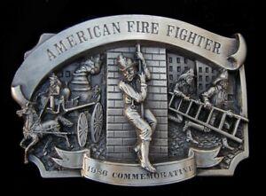 VTG. 1986 AMERICAN FIRE FIGHTER COMMEMORATIVE BELT BUCKLE #722/5000 US MADE
