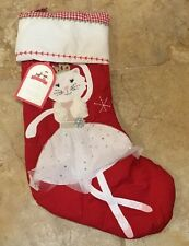NEW Pottery Barn Kids Quilted Stocking Dancing Kitty RED