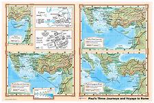 CoolOwlMaps Paul Journeys Rome Voyage Bible Studies Wall Map Poster 36x24 Paper